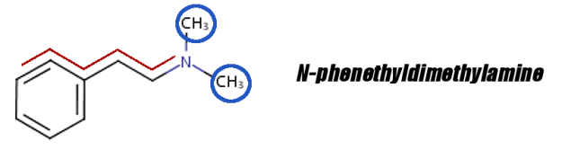 N-Phenethyldimethylamine is like a PEA molecule, but with an N,N' Alkyl section that also prevents MAO from cleaving it... although not as well as DMAA's mechanism. Click the image to read more.