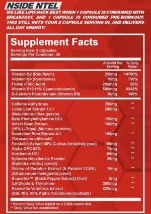 NTel Nutra has released the successor to their high powered, feel good fat burner Clenadrol X in Lipo-H4ck Ingredients