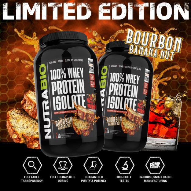 NutraBio 100% Whey Protein Isolate Bourbon Banana Nut