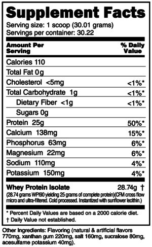 NutraBio 100% Whey Protein Isolate Banana Nut Ingredients