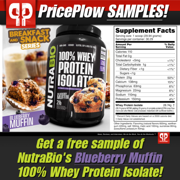 NutraBio 100% Whey Protein Isolate Blueberry Muffin Free Sample