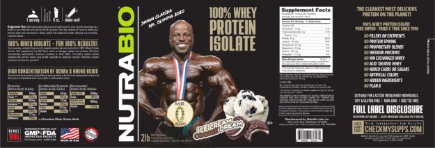 NutraBio 100% Whey Protein Isolate Ice Cream Cookie Dream Shaun Clarida Label