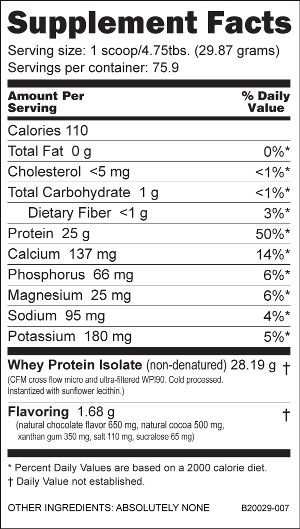 NutraBio 100% Whey Protein Isolate Ingredients - Chocolate