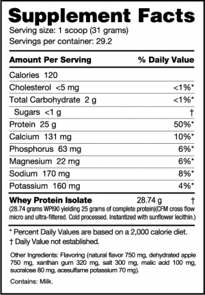 NutraBio 100% Whey Protein Isolate Miss American Pie Ingredients