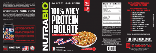 NutraBio 100% Whey Protein Isolate Miss American Pie Label