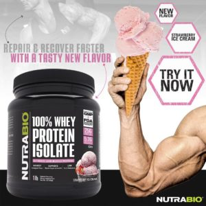 NutraBio 100% Whey Protein Isolate Strawberry Ice Cream