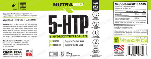 NutraBio 5-HTP Label