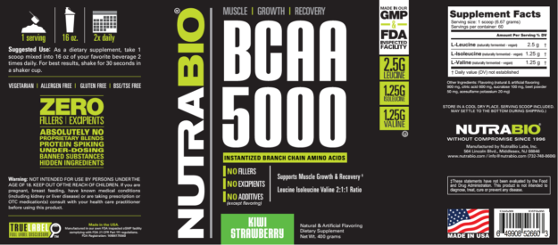 NutraBio BCAA 5000 Label