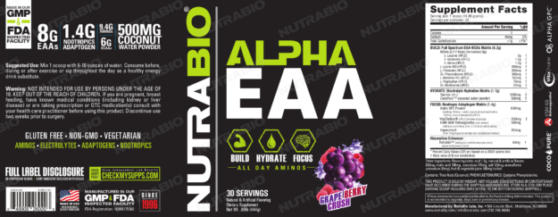 NutraBio Alpha EAA Grape Berry Crush Label