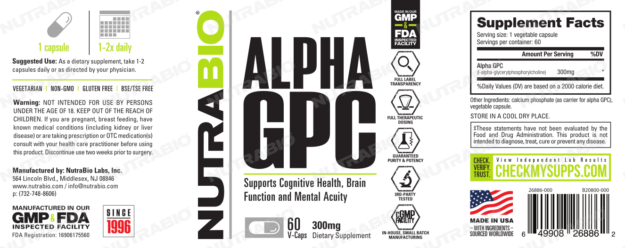 NutraBio Alpha GPC Label