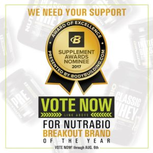 NutraBio Bodybuilding.com 2017 Awards