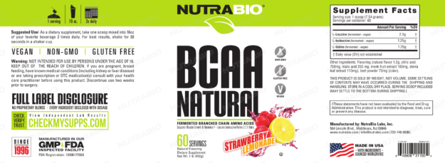 NutraBio BCAA Natural Strawberry Lemonade Label
