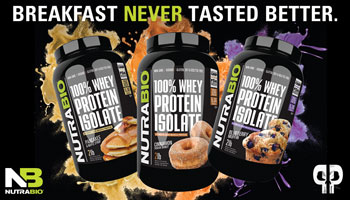 NutraBio's 100% Whey Protein Isolate Breakfast Flavors