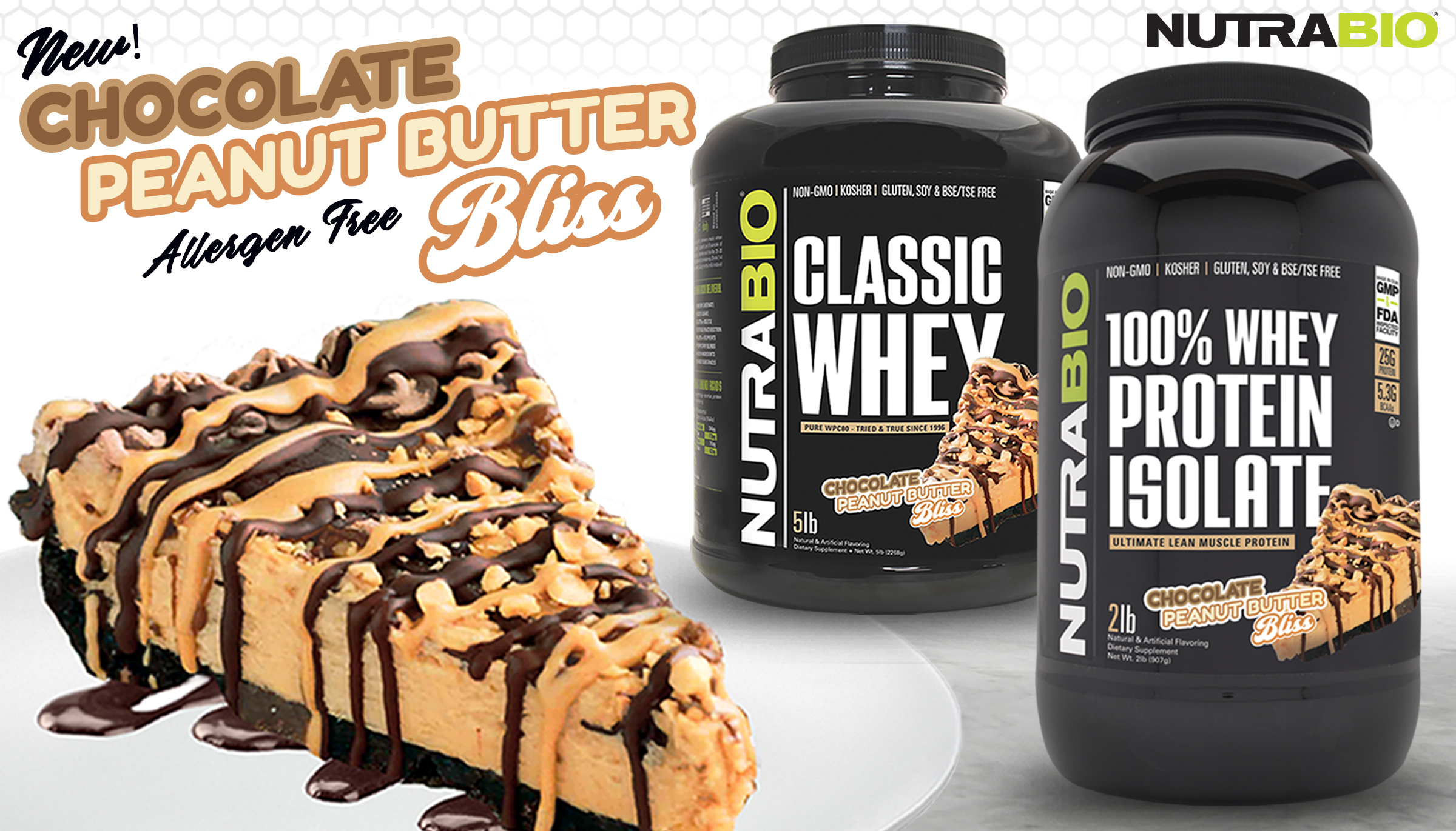 NutraBio Classic Whey Chocolate Peanut Butter BLISS… with No Nut Allergens!
