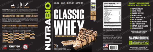 NutraBio Classic Whey Chocolate Peanut Butter Bliss Label