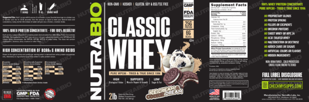 NutraBio Classic Whey Ice Cream Cookie Dream Label