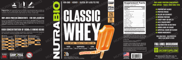 NutraBio Classic Whey Orange Dream Label