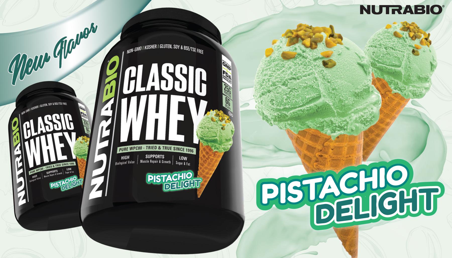 Pistachio Delight Classic Whey Starts NutraBio's Ice Cream Parlor Series!