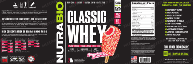 NutraBio Classic Whey Strawberry Shortcake Label