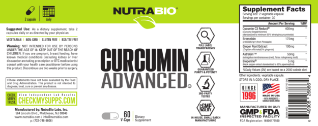 NutraBio Curcumin Advanced Label