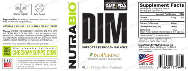 NutraBio DIM Label