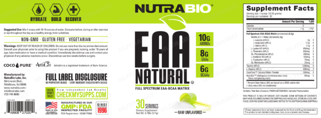 NutraBio EAA Natural Label