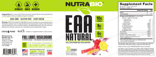 NutraBio EAA Natural Strawberry Lemonade Label