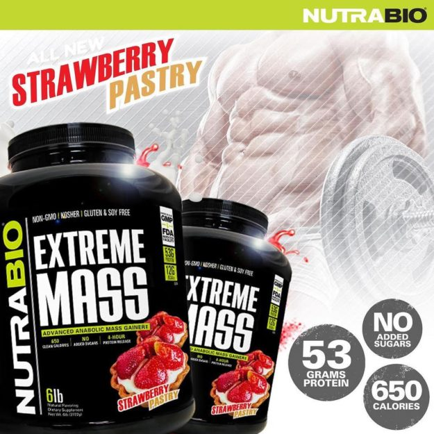 NutraBio Extreme Mass Strawberry Pastry