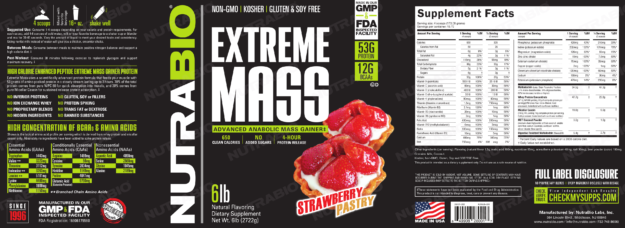 NutraBio Extreme Mass Strawberry Pastry Label