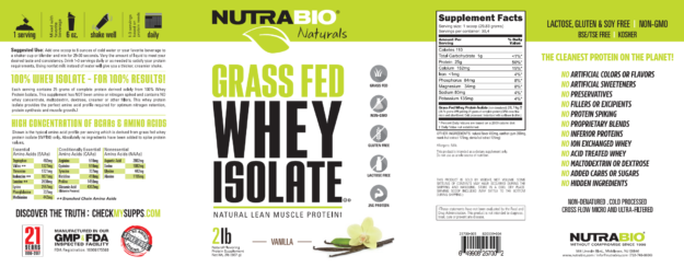 NutraBio Naturals Grass-Fed Whey Isolate Label