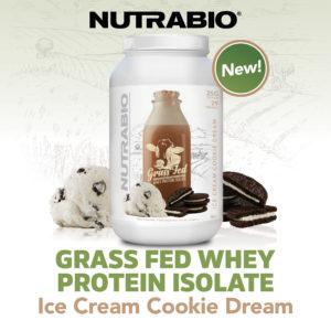 NutraBio Grass Fed Whey Protein Isolate Ice Cream Cookie Dream