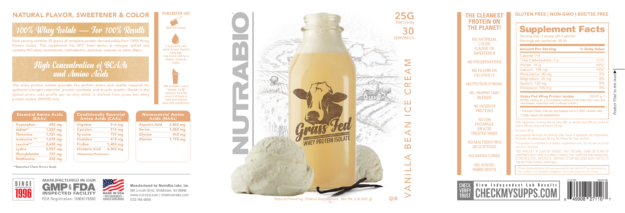 NutraBio Grass-Fed Whey Protein Isolate Label