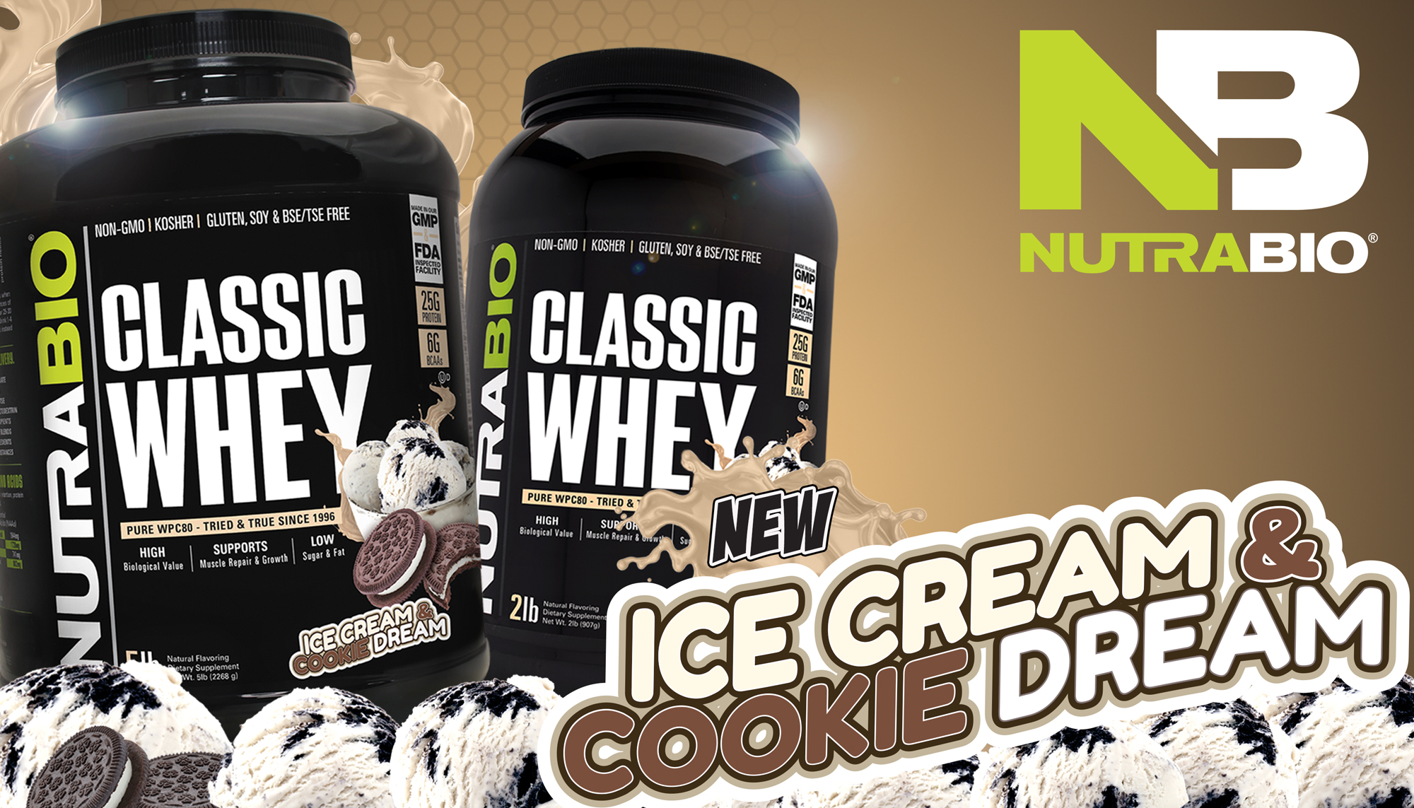 NutraBio Classic Whey Ice Cream Cookie Dream Upgrades Cookies & Cream!