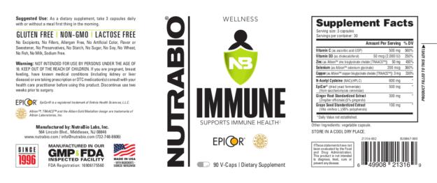 NutraBio Immune Label
