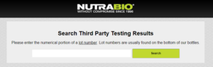 NutraBio Lot Number