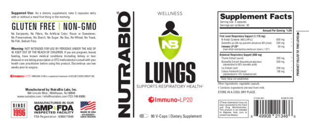 NutraBio Lungs Label