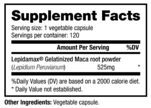 NutraBio Maca Ingredients