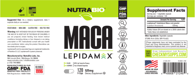 NutraBio Maca Label