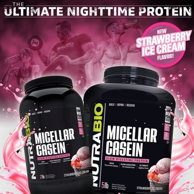 NutraBio Micellar Casein Strawberry Ice Cream