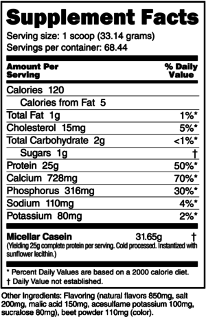 NutraBio Micellar Casein Strawberry Ice Cream Ingredients