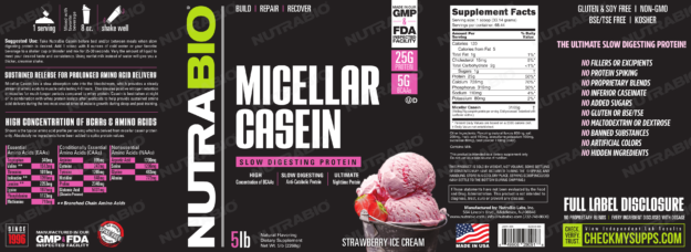 NutraBio Micellar Casein Strawberry Ice Cream Label