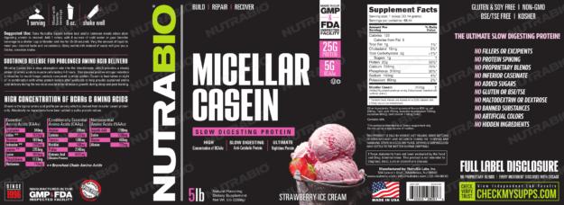 NutraBio Micellar Casein Strawberry Ice Cream Label