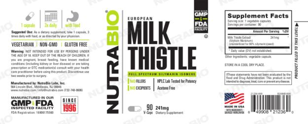 NutraBio Milk Thistle Label