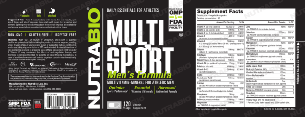 NutraBio MultiSport Men's Label