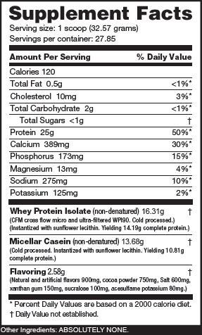 NutraBio Muscle Matrix Chocolate Peanut Butter Bliss Ingredients
