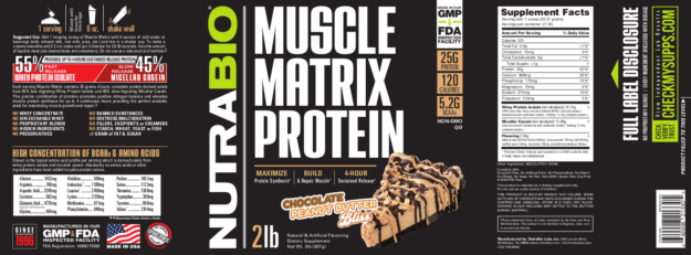NutraBio Muscle Matrix Chocolate Peanut Butter Bliss Label