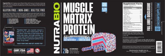 NutraBio Muscle Matrix Confetti Cake Label
