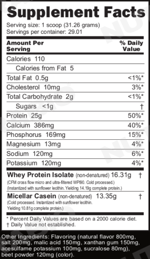 NutraBio Muscle Matrix Strawberry Pastry Ingredients