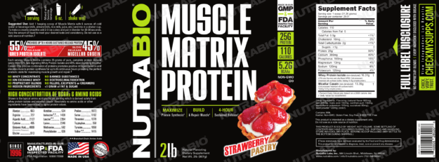NutraBio Muscle Matrix Strawberry Pastry Label