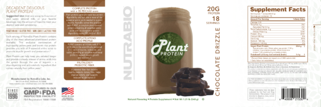 NutraBio Plant Protein Chocolate Drizzle Label